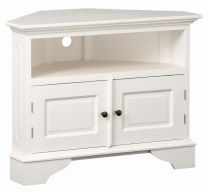 """""""Normandy"""" Full White Top French Provincial Corner Solid Mahogany Timber 90cm TV Unit with 2 Doors"""