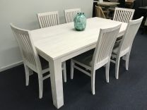 """Avalon"" 7 Piece Coastal Style White Wash Dining Package with 6 Dining Chairs 190cm Table"
