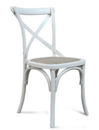"""Noosa"" Oak Hardwood Timber Cross Back Chair Rattan Seat Vivid White"
