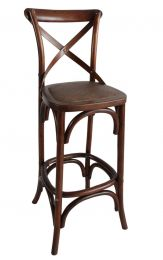 """Noosa"" Oak Hardwood Timber Cross Back Bar Stool Rattan 76cm SEAT HEIGHT Toffee"