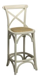 """Noosa"" Oak Timber Cross Back Bar Stool 66cm Kitchen Bench Height Antique White"