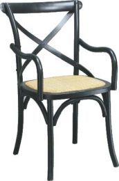 """Noosa"" Oak Hardwood Timber Cross Back Arms Carver Chair Rattan Seat Black"