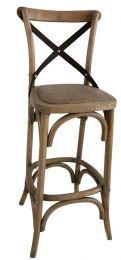 """Noosa"" Oak Cross Back Timber Bar Stool Metal Strap Kitchen Bench Height 66cm"
