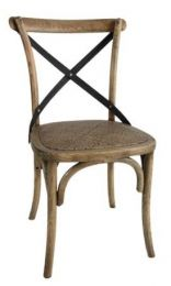 """Noosa"" Oak Hardwood Timber Cross Back Dining Chair Metal Strap Rattan Oak"