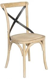 """Noosa"" Oak Hardwood Timber Cross Back Dining Chair Metal Strap White Wash Finish"