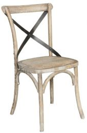 """Noosa"" Oak Hardwood Timber Cross Back Dining Chair Metal Strap Rattan Greywash"