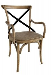 """Noosa"" Oak Hardwood Timber Cross Back Carver Chair Natural Black Metal Strap"