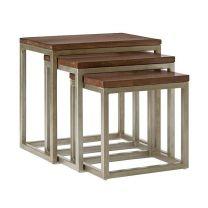 """Manhattan"" Solid Hardwood Natural Distress, Set of 3 Side Tables"