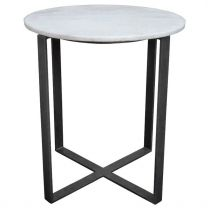 """Lucie"" 51cm Round Marble Top with Chrome Legs Occasional Lamp Side Table"