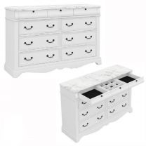 """""""Charlotte"""" Hamptons Style White Solid Hardwood Timber with Marble Look Top 8 Drawer Dresser with Mirror"""