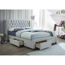 """Kingston"" Hamptons Style Buttoned Back Upholstered Stone Fabric Bed Frame 4 Storage Drawers Queen Size"