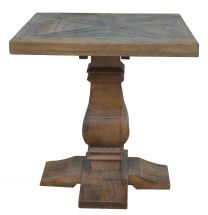 """Tuscany"" Antique Natural Solid Timber 55cm Square Parquetry Top Lamp Side Table with Pedestal Base"