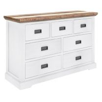 """""""Bayview"""" Solid Timber Coastal Style Two Tone with Brushed White Dresser, W140xD45xH83cm"""