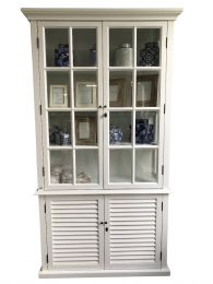 """Whitehaven"" White Timber Glass & Shutters Display Cabinet, 120x40xH220cm"