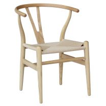 """Wishbone"" Replica Modern Timber Chair with Rattan Seat in Natural"