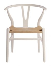"""Wishbone"" Replica Modern Timber Chair with Rattan Seat in White"