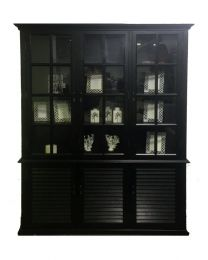 "FLOOR STOCK CLEARANCE SALE ""Whitehaven"" Hardwood Timber Glass Display 3 Shutter Doors, 170x41x220cm Black"
