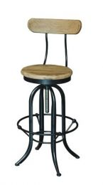 """""""Industrial"""" Black Metal and Timber Adjustable Barstool Kitchen Counter Stool with Back"""
